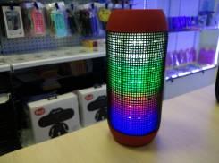 PULSE колонка bluetooth с поддержкой micro sd и пульсацией света в такт музыки, красный