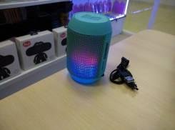 Мини-колонка AIBIMY с поддержкой micro sd и пульсирующим в такт музыки светом, голубой