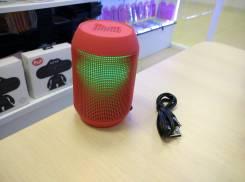 Мини-колонка AIBIMY с поддержкой micro sd и пульсирующим в такт музыки светом, красный
