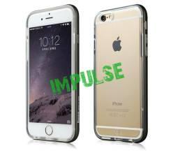 Силиконовый прозрачный чехол с алюминиевым бампером по периметру для iPhone 6 Plus/6s Plus, черный