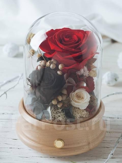Вечная роза из живой розы купить подарок на новый год жене и дочери