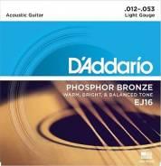 D`Addario EJ16 Phosphor Bronze Струны для акустической гитары 12-53