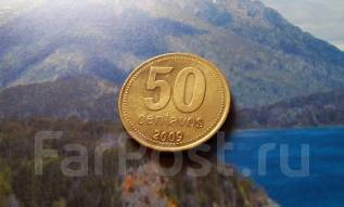 Аргентина. 50 сентаво 2009 года. Большая красивая монета!