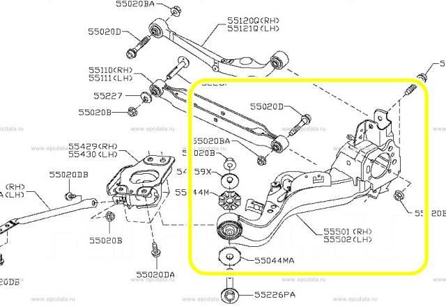 Рычаг подвески. Nissan Qashqai, J10E, J10 Nissan X-Trail, T31R, DNT31, T31, NT31, TNT31 Nissan Dualis, NJ10, J10, KNJ10, KJ10 Nissan Qashqai+2, JJ10E...