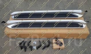 Подножки с подсветкой Land Cruiser 200 (Ленд Крузер) серебристые с 16г. Toyota Land Cruiser, VDJ200, J200, URJ202W, URJ202