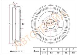 Барабан тормозной RR TOYOTA PREMIO/ALLION 01-07/ OPA 00-05/VISTA ##V5# 98-03/ CELICA 99-05 SAT ST-42431-32121