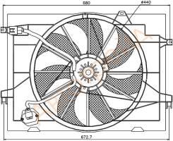 Диффузор радиатора в сборе HYUNDAI TUCSON 04-09/KIA SPORTAGE 04-09 2,7i SAT ST-HN50-201-A0