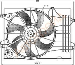 Диффузор радиатора в сборе HYUNDAI TUCSON 04-09/KIA SPORTAGE 04-09 2,0i/2,0d SAT ST-HN50-201-0