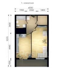 1-комнатная, проспект Красного Знамени 114б. Третья рабочая, застройщик, 53 кв.м. План квартиры
