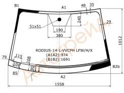 RODIUS-14-L-VVCPH LFW/H/X XYG Стекло лобовое с обогревом щеток в клей SSANGYONG RODIUS/STAVIC VAN 2014-