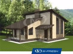 M-fresh Sport (Проект дома с небольшой мансардой). 100-200 кв. м., 1 этаж, 4 комнаты, комбинированный