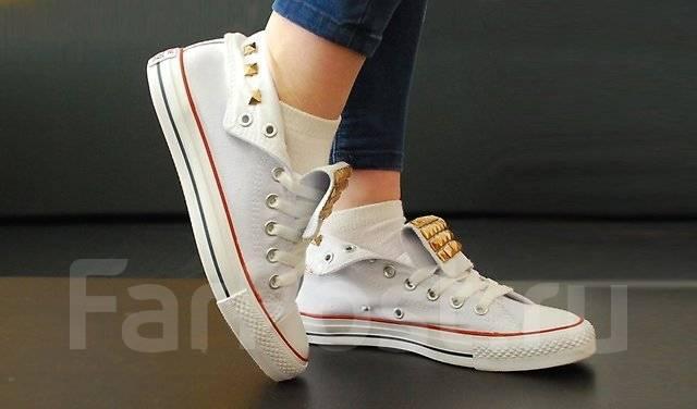 8ea93cfb97da Кеды Converse All Star с клепками, белый цвет - Обувь во Владивостоке