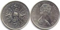Великобритания 25 пенсов 1980 год королева мать шайба