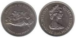 Гернси 25 пенсов 25 лет Замок Крепость Шайба (иностранные монеты)