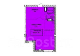 1-комнатная, улица Кипарисовая 2. Чуркин, застройщик, 46 кв.м. План квартиры