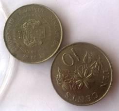 Монета 10 центов 1991 года - Сингапур - Жасмин