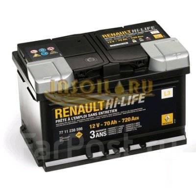 Renault 7711238598. Аккумулятор Renault L3 70AH 720А