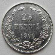 25 пенни 1909 ! Русская Финляндия Серебро 750 пробы.