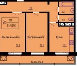 2-комнатная, ул.Почтовая. Карасунский, агентство, 65 кв.м.