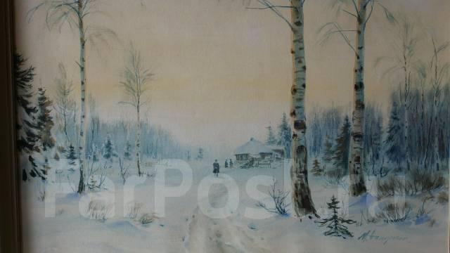 """М. А. Балунин, «Зима в деревне"""", бумага, акварель. Россия, конец XIX в. Оригинал"""