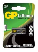 Литиевый элемент питания (батарейка) GP CR123, 3V