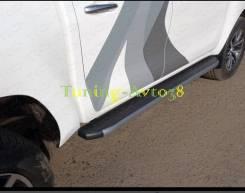 Пороги площадкой ( карбон серые ) Toyota Hilux Pick Up 2015-