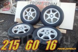 Колёса из Японии. Зимние Bridgestone 215/60R16 на литых дисках. x16 5x100.00, 5x114.30 ET50 ЦО 73,0мм.