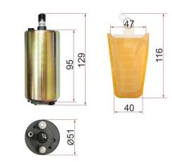 Топливный насос 12V, 3BAR, 90L/H, V=1500-2000 SAT STFP07