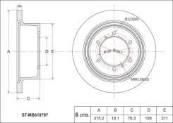 Диск тормозной RR MMC Pajero/Sport/Challenger V2#/4#, K9# 91-, Delica SpGear/L400 Van PD/PF/PE 9 SAT STMB618797