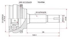 Шрус TOYOTA Corolla/Runx/Will VS/Opa/RAV4 CA2#/SV50/Allion/WISH 4WD 1ZZ(4WD)/1AZ-FSE/3ZZ(euro) 00-05 SAT TO078A