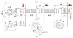 Шланг тормозной FR TOYOTA CAMRY/GRACIA/HARRIER/MARK2 QUALIS/WINDOM/LEXUS ES300/RX300 96-03 LH