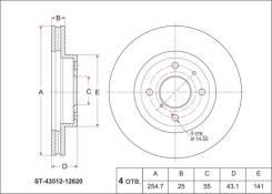 Диск тормозной FR TY Corolla Runx/Allex/Verso/Spacio/Filder NZE12#/ZZE12#, ZZE15#, Prius W11 0, передний SAT ST4351212620
