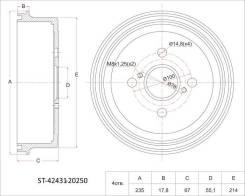 Барабан тормозной RR TY Corolla/Sprinter 2WD 95- AE10#/11#, EE111, AT212 (13), задний SAT ST4243120250