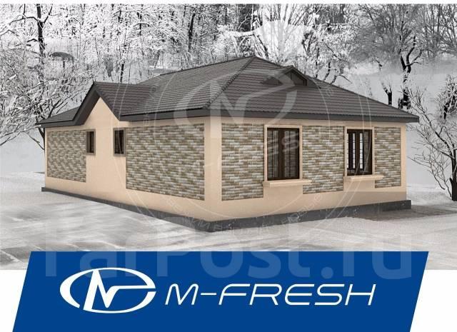 M-fresh Fit (Проект 1-этажного дома для жизни на природе! ). 100-200 кв. м., 1 этаж, 3 комнаты, бетон