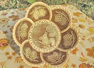 Тарелка из бересты, ручная работа, торг с рубля