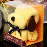 """Подарочное полотенце """"собачка"""" в коробочке 20*20см. Желтый цвет"""