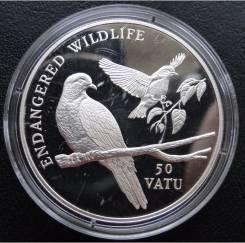 50 вату.1992г. Вануату. Птицы. Серебро. Proof.