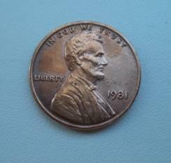 США, 1 цент 1981 года. Без отметки монетного двора