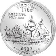 Квотер = 25 центов Штаты - 2000 год , Virginia. Под заказ