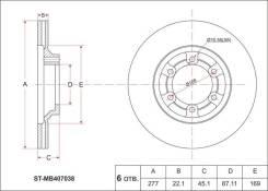 Диск тормозной FR MMC Pajero I L044/L141 -91, Delica Wag/L300 P2#/4# 89-99, передний P23W