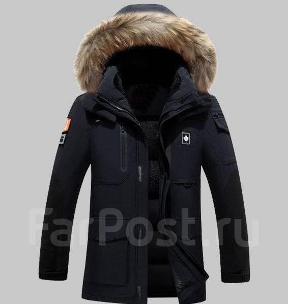 9651c342a8d56 Мужской пуховик с меховым капюшоном черный - Верхняя одежда в Хабаровске