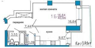 1-комнатная, улица Калинина 13. Чуркин, агентство, 45 кв.м. План квартиры