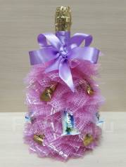 Новогодний подарок Елка с конфетами на бутылки детского шампанского. Под заказ