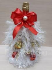 Новогодний подарок Елка с конфетами на бутылки. Под заказ