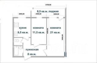 2-комнатная, улица Анны Щетининой 35. Снеговая падь, частное лицо, 53 кв.м. План квартиры