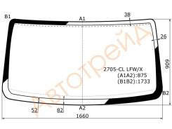 Стекло лобовое в клей(безполосы) GAZ GAZELLE II/баргузин/соболь 2705 VAN 2002-