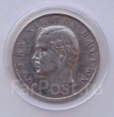 Бавария 3 марки 1908 Король ОТТО Серебро