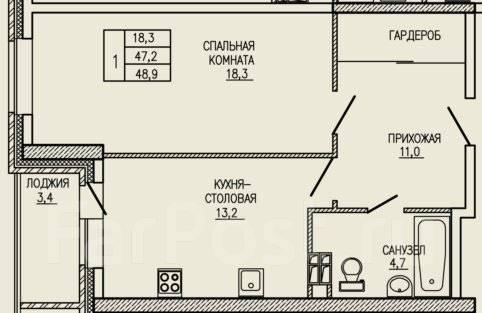 1-комнатная, улица Ватутина 33. 64, 71 микрорайоны, застройщик, 48 кв.м. План квартиры