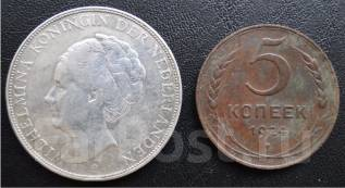 2 1/2 гульдена.1932г. Нидерланды. Вильгельмина. Серебро. XF+.