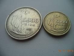 Турция, 5000 лир 1993 + 5000 лир 1996 - Один Лот